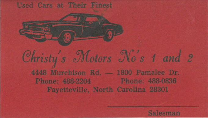 Business Card from Christy's Motors.