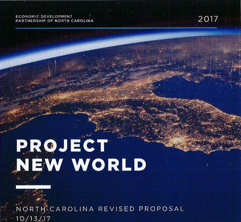A screenshot of the cover of the proposal from NC Department of Commerce to entice Toyota and Mazda to build an auto manufacturing facility in North Carolina.