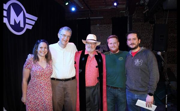 photo of contest winners and judge at motorco music hall