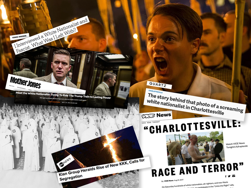 A collection of headlines and photos from the media covering white supremacists