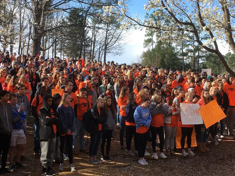 Students at East Chapel Hill High gather for student walkout on Wednesday, March 14, 2018.