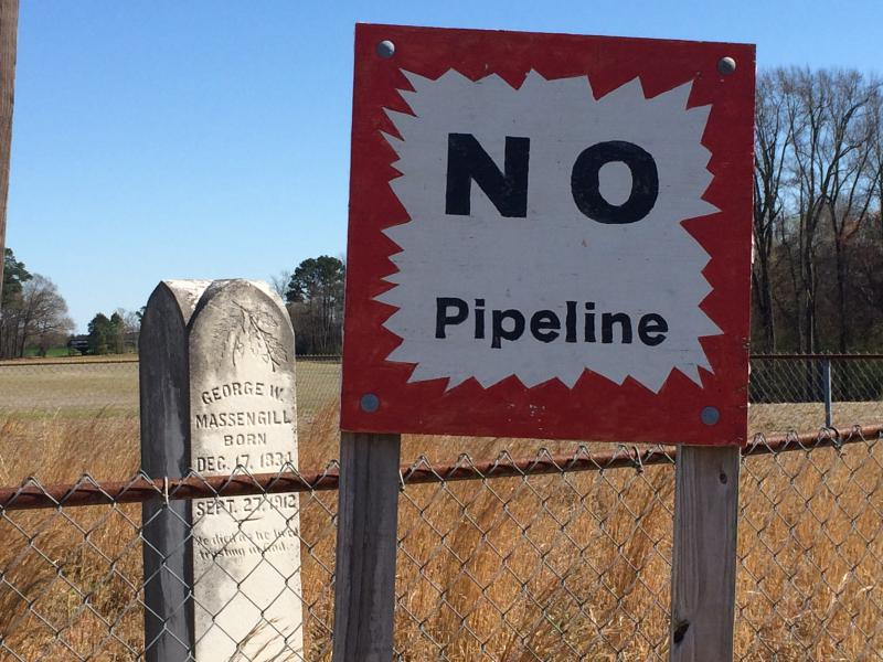 A protest sign against the Atlantic Coast Pipeline on Francine Stephenson's property in Johnston County.