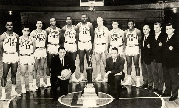 photo of the 1963 loyola basketball team with coaches. some of the team are white and some are african american.