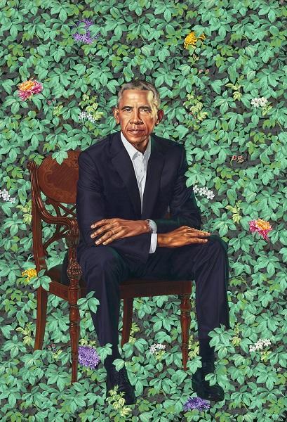 portrait of Barack Obama against a verdant floral backdrop