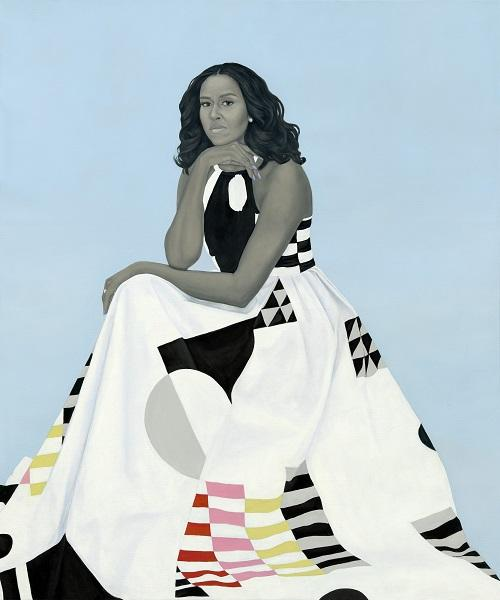 portrait of Michelle Obama, seated, wearing a flowing dress