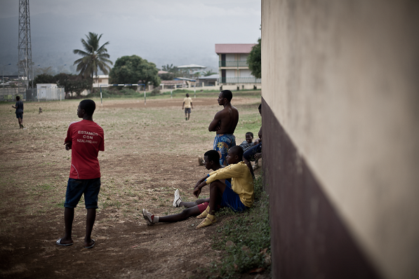 photo of people watching football in Equatorial Guinea