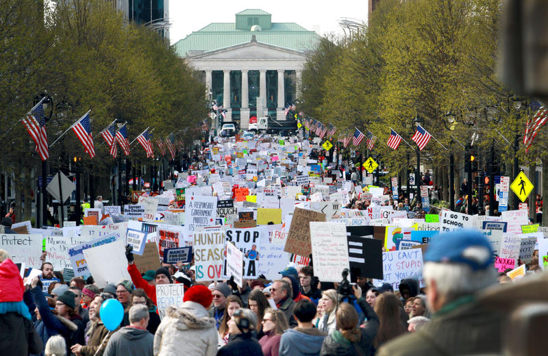 Thousands of people march down Fayetteville Street in downtown Raleigh on Saturday, March 24, 2018 in support of gun control.