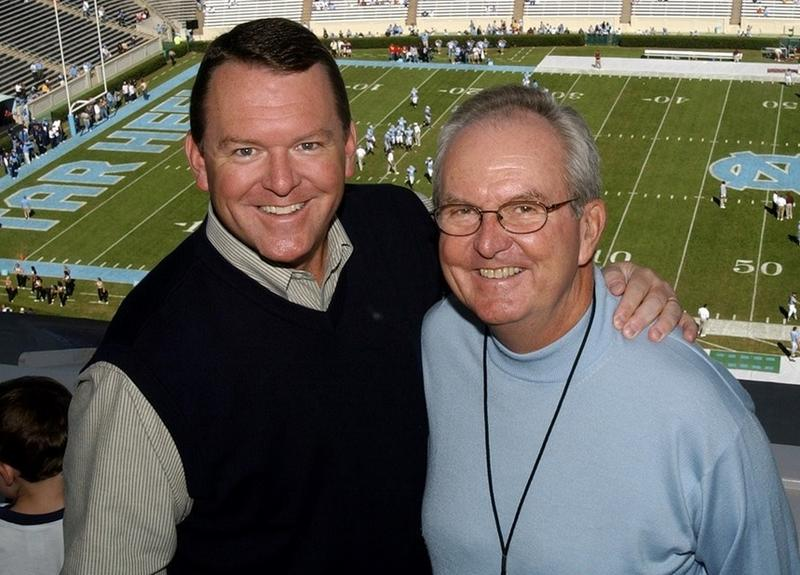 Woody Durham (right) with his son, Wes Durham (left).