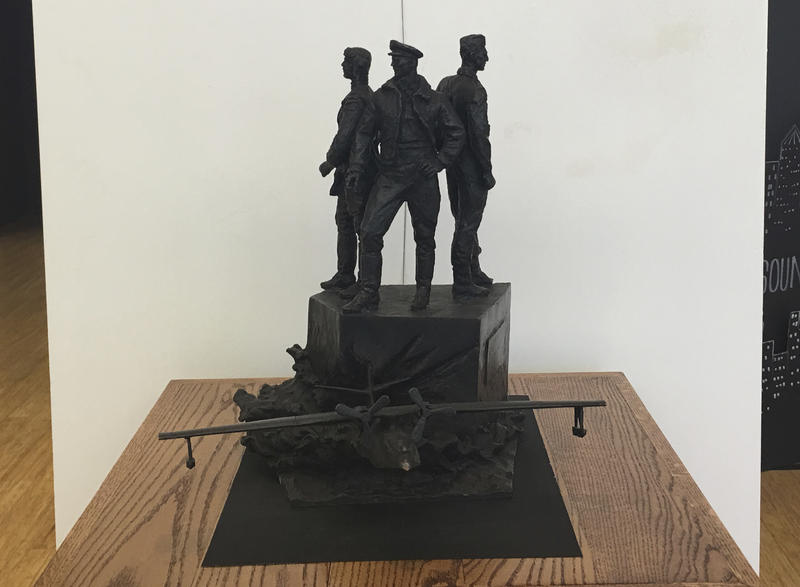 "A model of the ""Project Zebra"" memorial stands in the Arts of the Albemarle building in Elizabeth City. The monument to Russian soldiers killed while training in the United States during World War II may still find a home in America."