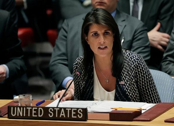 photo of Nikki Haley speaking at the United Nations