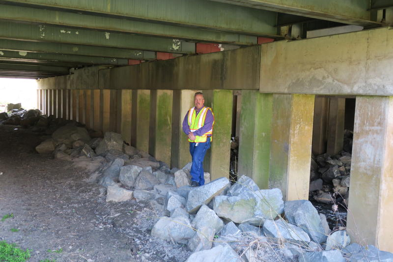 North Carolina Department of Transportation Division Bridge Program Manager Tim Powers stands underneath Bridge 299 in Greensboro. The bridge is the most structurally deficient in the state.