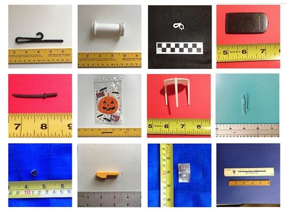 many small photos of plastic objects such as a pizza table or small bag, each photographed next to a ruler
