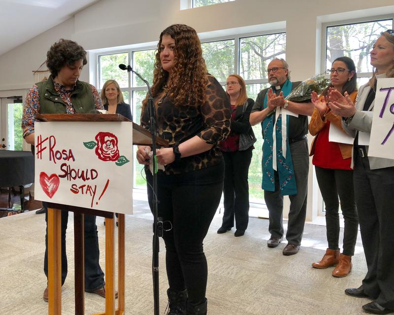 Rosa del Carmen Ortez-Cruz speaks at a press conference on Tuesday, April 17, 2018.