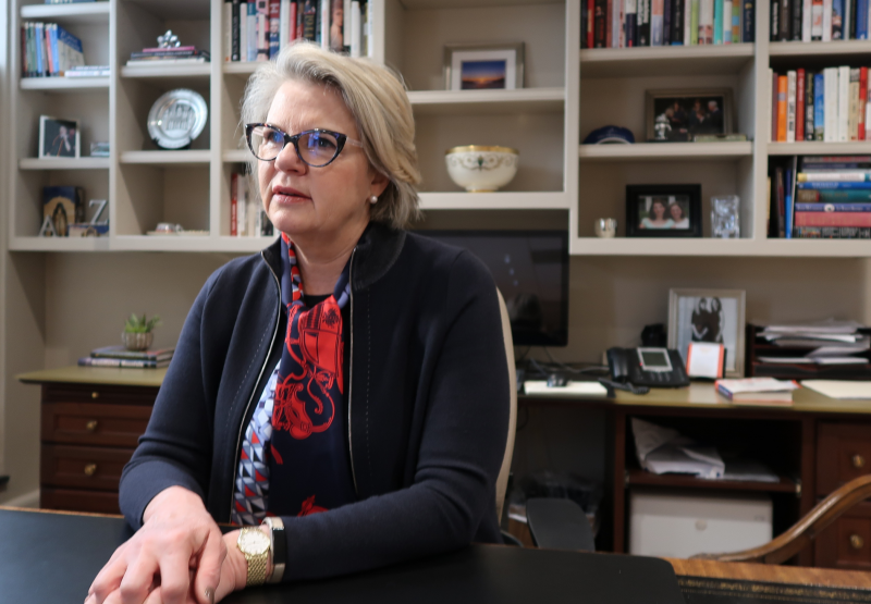 UNC System President Margaret Spellings in her office