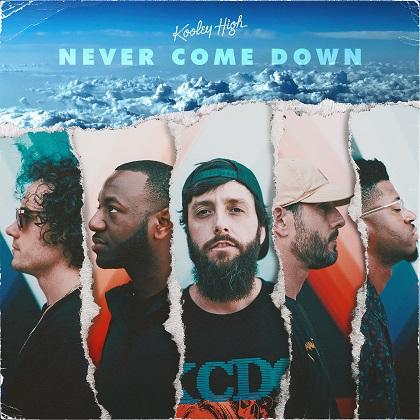 album cover for 'never come down,' picturing members of kooley high and some clouds