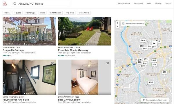 photo of the airbnb website, with pictures of rooms for rent