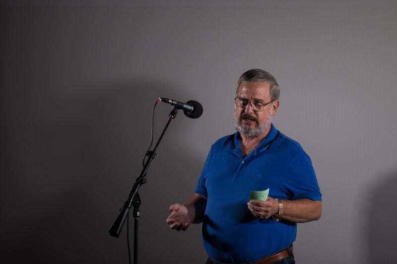 Bill Wadford speaks at a live story-telling event in Fayetteville, N.C.