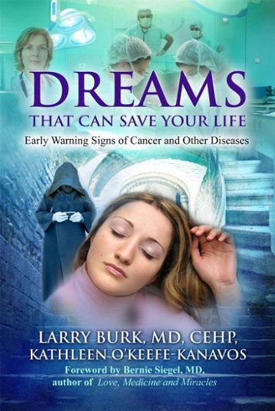 book cover for 'dreams that can save your life,' picturing a dreaming woman and a hooded monk in the background