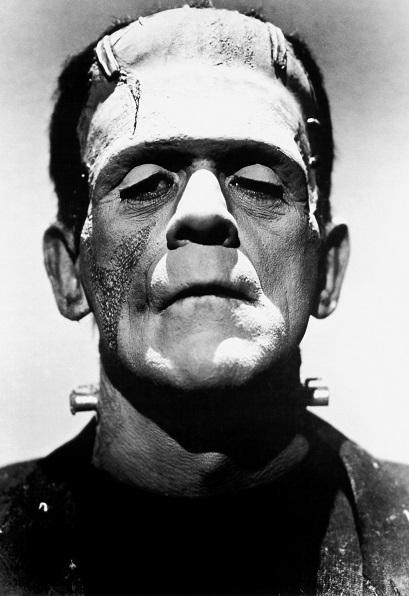 black and white photo of frankenstein's monster