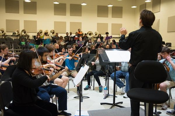 photo of an orchestra rehearsal