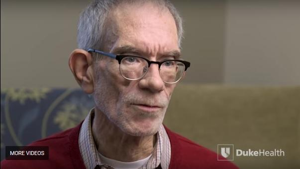 A screengrab of an interview with Stanley Boling, a patient at Duke Hospital and the first HIV-positive person in the southeast to receive an organ from an HIV-positive donor.