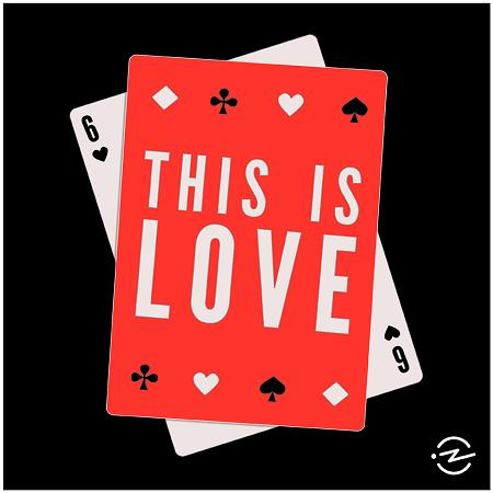 illustration of playing cards with the words 'this is love'