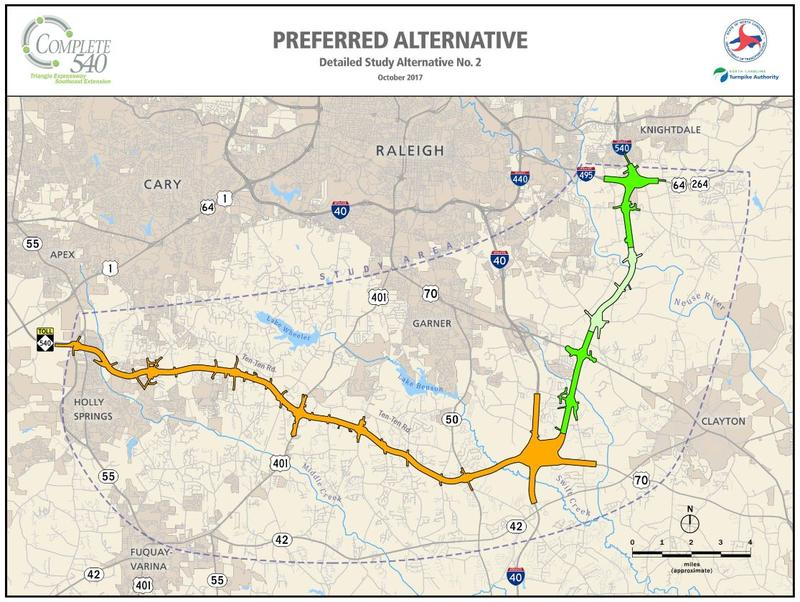 The proposed route to complete the 540 Loop around Raleigh.