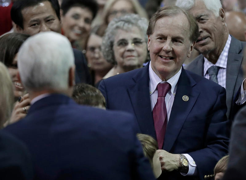 File photo of Rep. Robert Pittenger (R-NC), right, smiling at Vice President Mike Pence, left, after a tax policy event in Charlotte, N.C., Friday, April 20, 2018. Pittenger lost a close primary race to Republican Mark Harris.