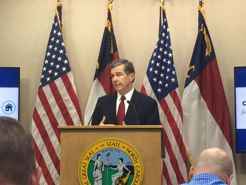 Gov. Roy Cooper addresses reporters on Thursday, May 10, 2018 regarding his $24.5 billion spending proposal.