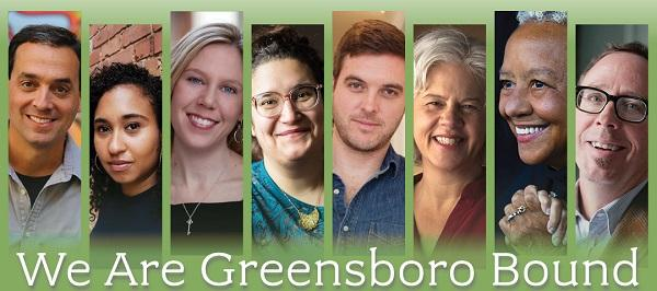 banner photo of eight featured authors with the words 'we are greensboro bound'