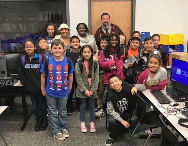 Kerri Mubaraak with participants from Hunter Elementary School in Greensboro