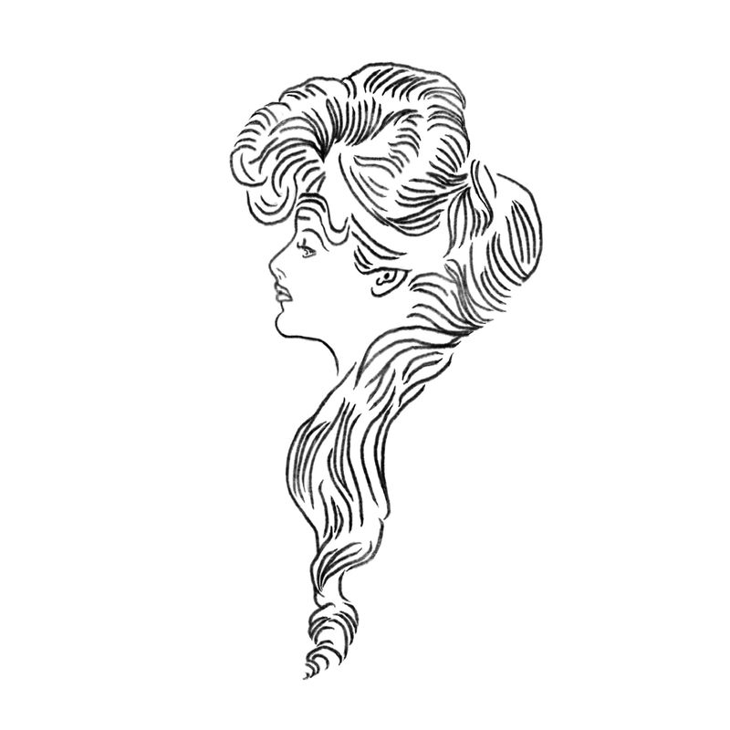 "A drawing of Evelyn Nesbit, a recreation of Charles Dana Gibson's ""The Eternal Question""."