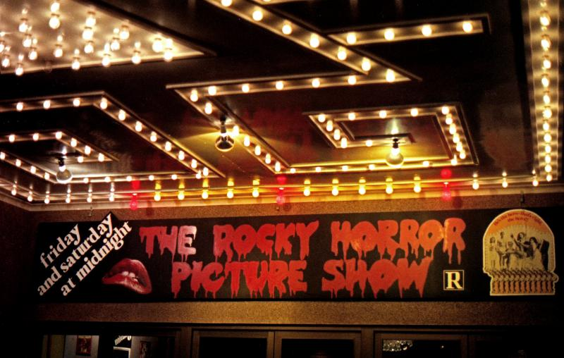 The Rocky Horror Picture Show on a theater marquee.