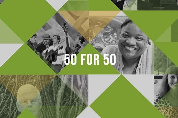 composite image of artist honorees and the words '50 for 50'
