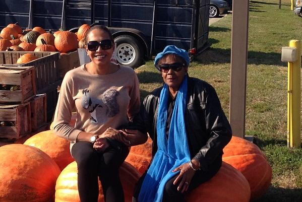 photo of candis and her grandmother in a pumpkin patch