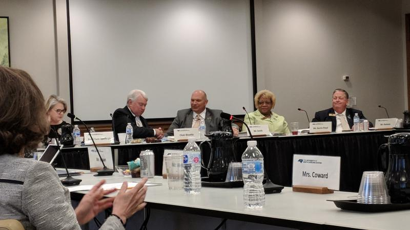 Harry Smith, center, was elected as the new UNC Board of Governors chairman.