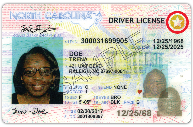 A sample REAL ID, with the identifying gold star.