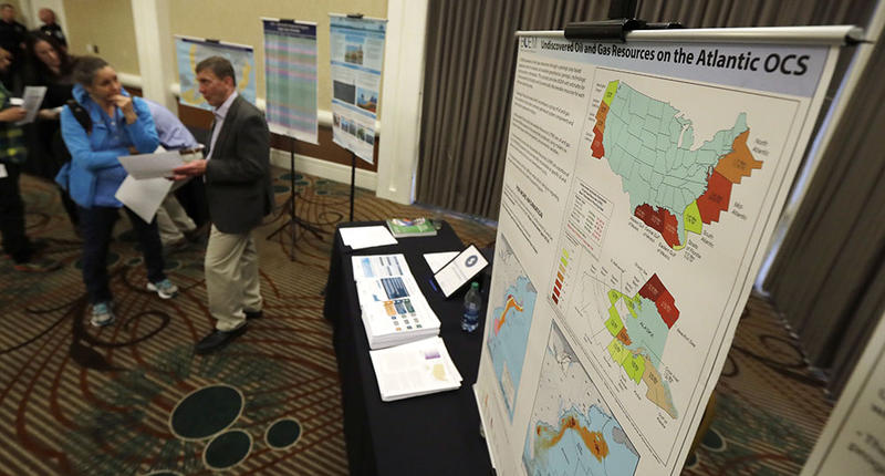 Areas that could potentially be leased for offshore oil and gas drilling are shown on a map displayed Monday, March 5, 2018, at an open house hosted by the federal Bureau of Ocean Energy Management to provide information and gather public comment on the T