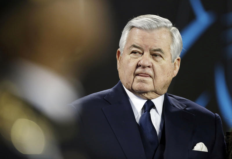 Carolina Panthers owner Jerry Richardson watches before the NFL football NFC Championship game against the Arizona Cardinals, Sunday, Jan. 24, 2016, in Charlotte, N.C.