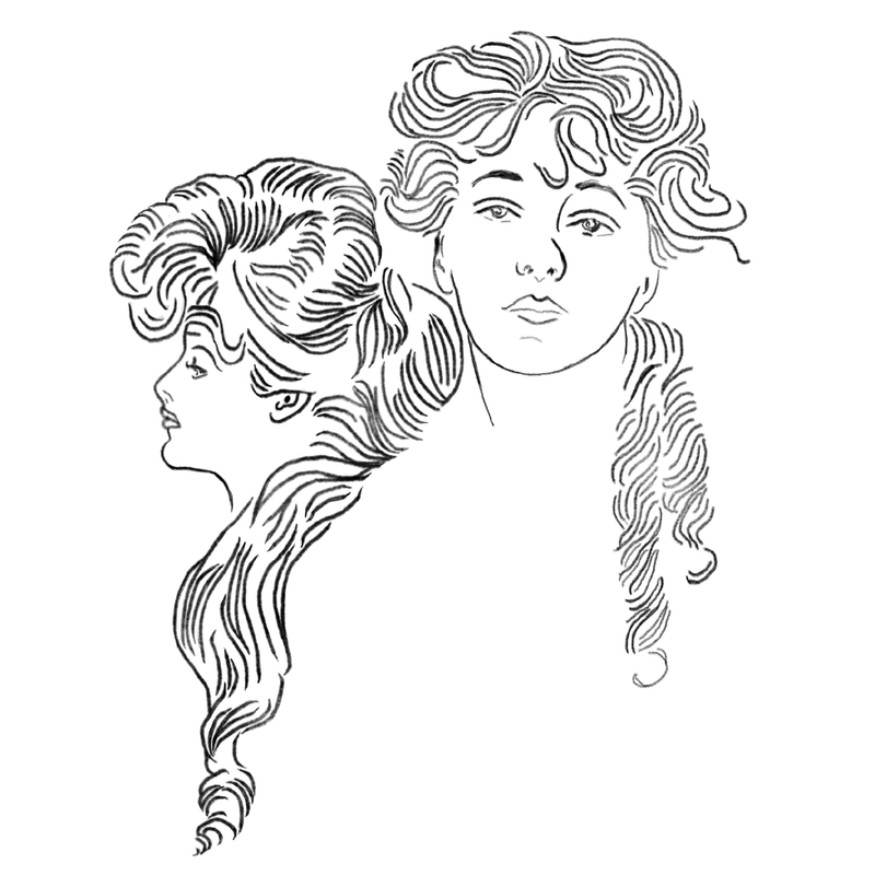 A drawing of Evelyn Nesbit.