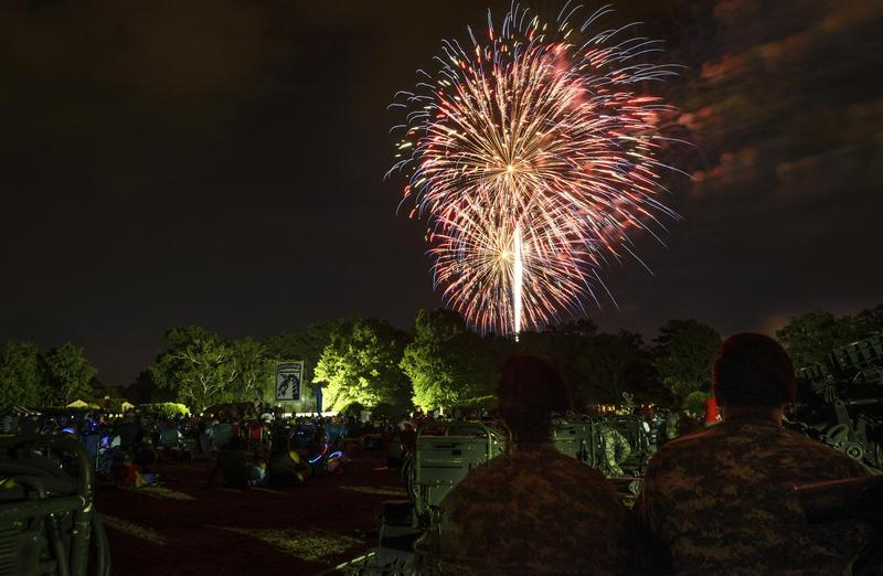 Fireworks explode on the Fourth of July at Fort Bragg's Main Post Parade Field.