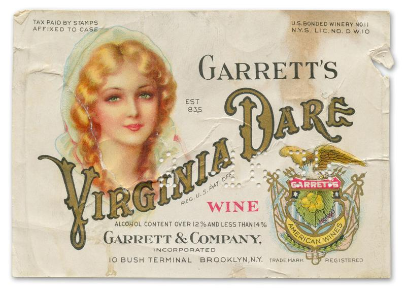 An old wine label featuring the image of Virginia Dare.