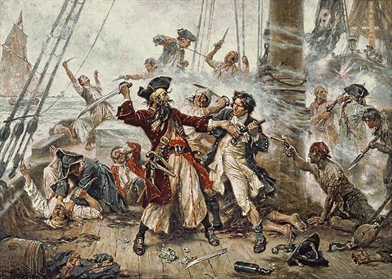 'Capture of the Pirate, Blackbeard,' 1718 depicting the battle between Blackbeard the Pirate and Lieutenant Maynard in Ocracoke Bay.