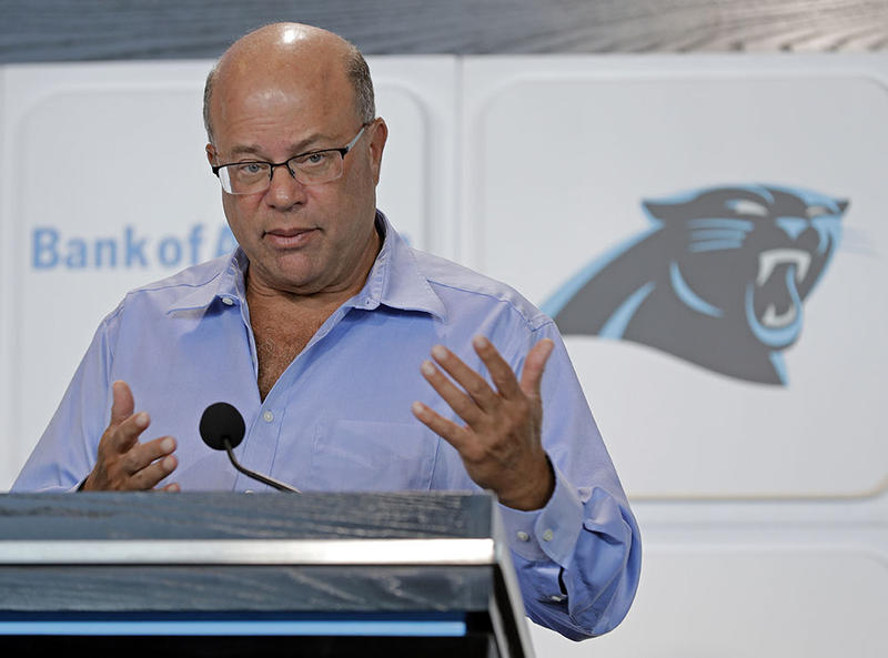 New Carolina Panthers owner David Tepper answers a question during a news conference at Bank of America Stadium in Charlotte, N.C., Tuesday, July 10, 2018. Tepper finalized his purchase of the team on Monday.