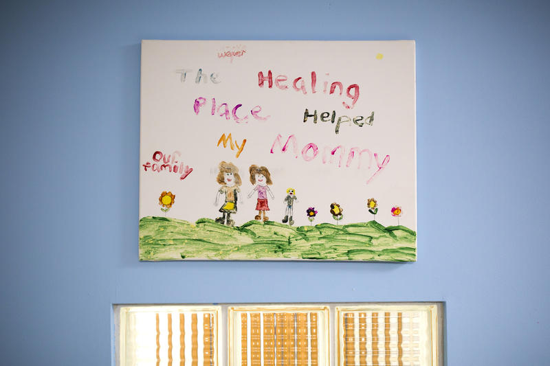 A painting hangs on the wall of the Bright Spaces room, which is used when children visit their mothers, at Healing Transitions in Raleigh. Women in the residential recovery program live on campus for 12 - 18 months.