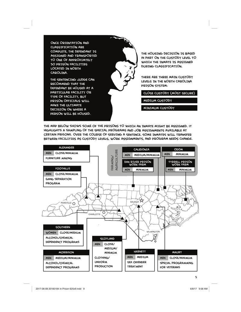 'In Prison: Serving a Felony Sentence in North Carolina' is a graphic novel which delineates the possible experiences for a felon post-sentencing.