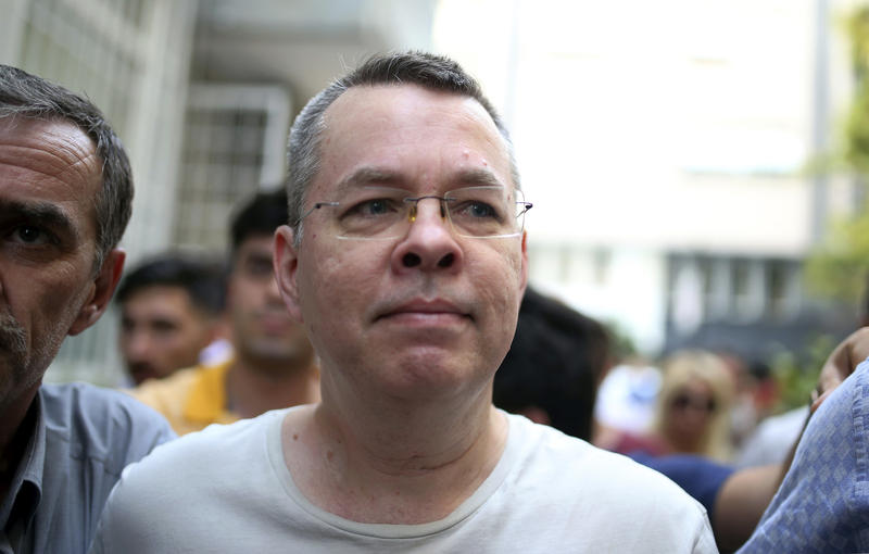 Andrew Craig Brunson, an evangelical pastor from Black Mountain, North Carolina, arrives at his house in Izmir, Turkey, Wednesday, July 25, 2018