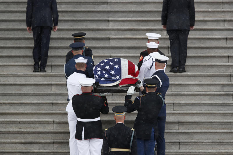 flag-draped casket of Sen. John McCain