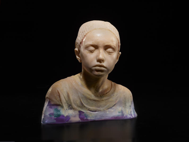 One of artist Dean Allison's glass busts.