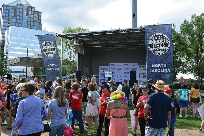 Participants gather during a March For Our Lives rally in Greensboro, North Carolina, on August 1, 2018.